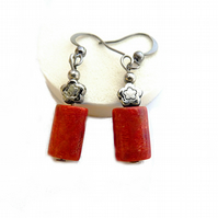 Earrings with red coral, old silver, hanging earrings, flower, long, rectangular