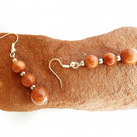 Goldstone earrings, brown, red, gemstone, women's earrings, beaded earings