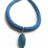 Blue, crochet necklace with agate pendant