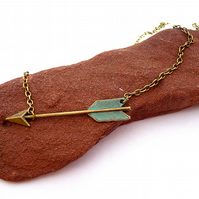 Necklace with arrow, patinated, verdigris, ethnic, gold chain, boho, indian
