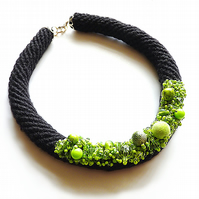 Black necklace with green beads, crochet, bead necklace, short necklace