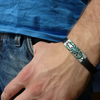 Men's bracelet with scorpion, black, leather, patinated