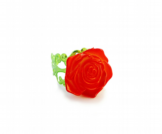 Ring with rose, red, flower, vintage