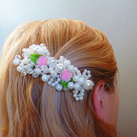 Hair comb with pearls and roses - wedding, bridal, pearls