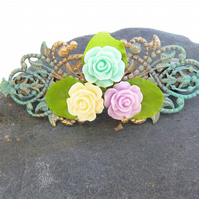 Barrette Clip - vintage, roses, patina, flowers, retro, gold, romantic,