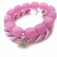 Set of bracelets - beaded, pink, butterfly
