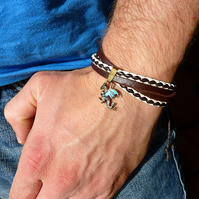 Men's leather bracelet with dragon - brown