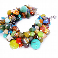 Colorful thick bracelet with gemstones - precious stones bracelets, colorful