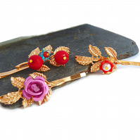 Hair pins 3 pieces - gold, rose, flower, red, pink