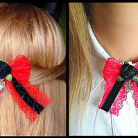 Hair clip, brooch, red, black with bow, gothic style, gothic lolita, flowers
