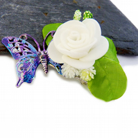flowers clip with butterfly, butterfly hair clip, alligator clip, crocodile clip