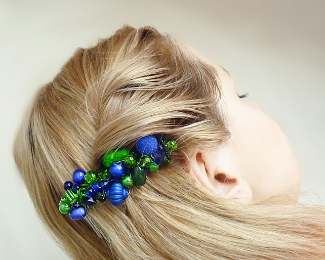 Hair comb with blue-green beads, hair accessories, ornamental hair comb, wedding