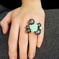Beaded ring - rose, mint, slate grey, green, hematite, big ring , beaded ring, r