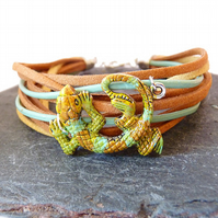 Mens bracelet - lizard, gecko, brown, green, blue, suede, leather mens bracelet,
