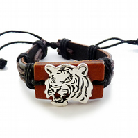 Men's leather bracelet - tiger, black, brown, adjustable, universal, one size br