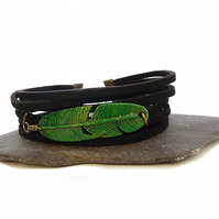 Black suede bracelet with feather - mens bracelet, black mens bracelet, suede br