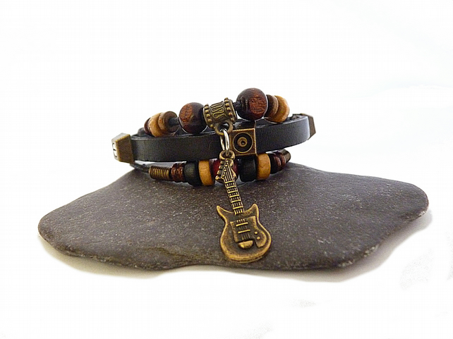 Men's bracelet - black bracelet, leather bracelet, guitar bracelet