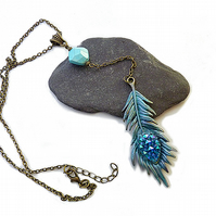 Indian feather necklace - blue, turquoise, boho, Y shape necklace, Indian jewelr