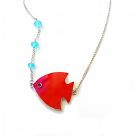 Fish necklace - bubble, red fish, scalar, short necklace, womens necklace, neckl