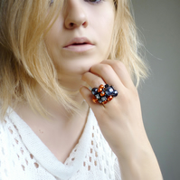 Beaded ring - orange ring, silver ring, big ring , beaded ring, ring with beads,