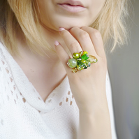 Beaded ring - green ring, silver ring, big ring , beaded ring, ring with beads,