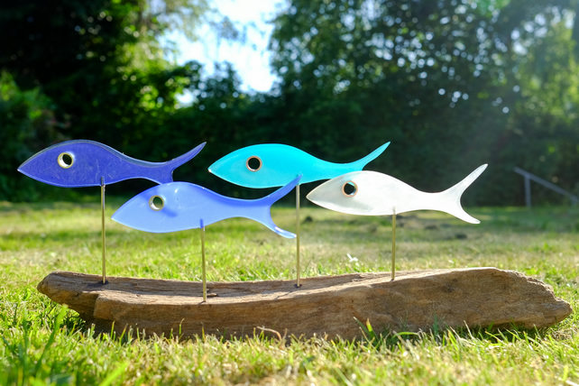 Four blue fish