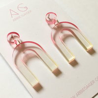 Ombre Pink & Yellow Arc Dangle Earrings - Bold Laser Cut Gradient Dyed Acrylic
