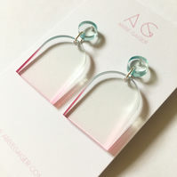 Ombre Blue & Pink Rounded Dangle Earrings - Bold Laser Cut Gradient Dyed Acrylic
