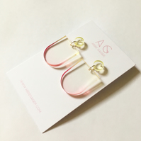 Ombre Yellow & Pink Rounded Dangle Earrings - Laser Cut Gradient Dyed Acrylic