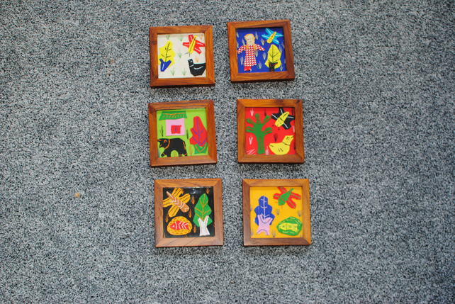 teak wood coasters, kids drawing coasters, coasters wood, customised coasters