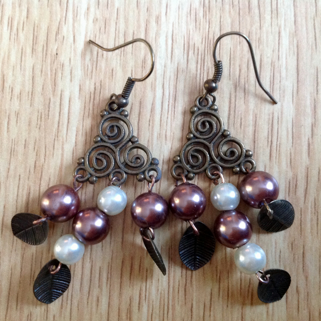 Celtic Chandelier Earrings - Copper - Metallic Acrylic Beads and Glass Pearls