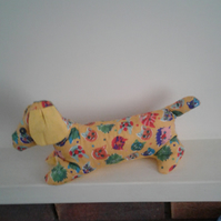 yellow fabric dachshund