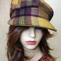 Wool baker boy  style cap , plaid mustard and mauve