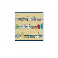 Beach Huts and Boats - pack of 5 blank greetings cards