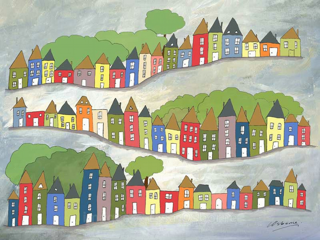 Hilly Streets -print