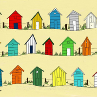 Beach huts by the sea  - print