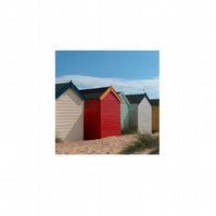 Beach huts - pack of 5 greetings cards (blank for your own message)