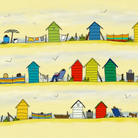 Beside the sea - print of digital illustration showing beach huts by the sea