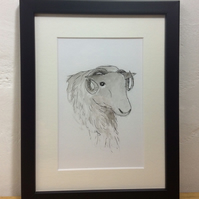 Sheep - framed, original painting