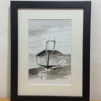Fishing boat - framed original pen and ink
