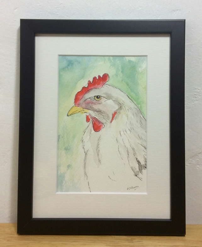 Hello there! - framed, original painting of a chicken