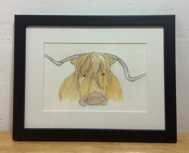 Highland cow - framed, original painting