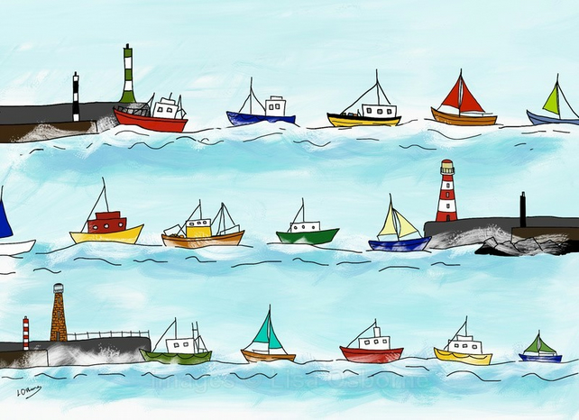 Heading home - print of digital illustration of boats