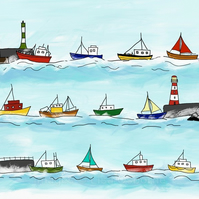 Heading home - print of illustration of boats