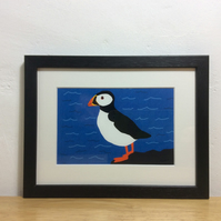 Puffin - framed print of orginal bird artwork