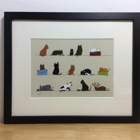 Cats - framed print of these cats from illustration