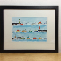 Heading home - framed print of illustration of boats
