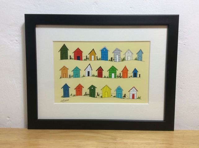 Beach huts by the sea - print from my illustration