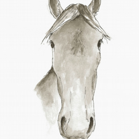 Faithful friend - signed print of horse illustration
