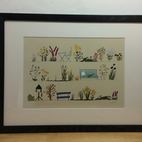 Country Garden - A4 framed print of illustration